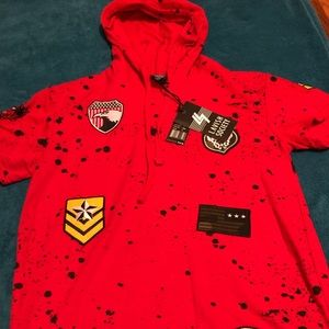 Red and black dot shirt for men with hood
